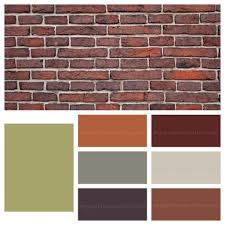 using green to accent a brick fireplace