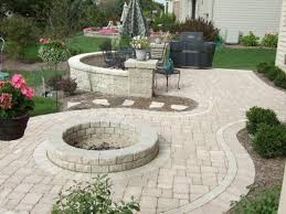 Inspiring Backyard Patio Designs With Fire Pit Ideas Added Neutral Cemen  Pavers As Great Gardeing Decors Designs