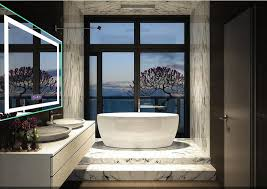 Illuminated LED mirrors with demister pad for bathroom