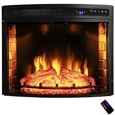 28 in freestanding electric fireplace insert heater in black with curved tempered glass and remote