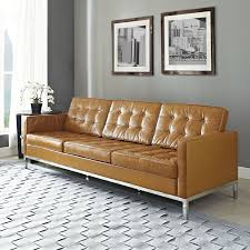 Florence Knoll Design Style Florence Knoll Style Leather Sofa Modern Leather Sofa Tan