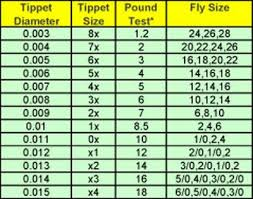Fly Line Leader Size Chart Fly Fishing Tippet X Size To Pound Size Swittersb