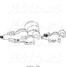 Small Picture Vector of a Cartoon Skunk Wearing a Mask and Following Others