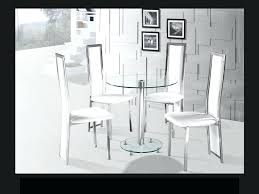 white glass round table round clear glass chrome dining table and 4 white chairs set white