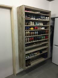 Shelf Shoe Cabinet Giant Shoe Rack Made Out Of Discarded Pallets O Pallet Ideas