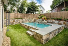 Small Backyard Decor with Flip Board Inground Swimming Pool, Natural Stone  Pool Foundation, Natural