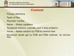 2 content primary definitions types of flow reynolds number navier stokes equations numerical solutions