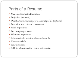 sample resume of art and science resume parts of a resume