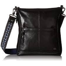 the sak iris cross bag black leather purse embroidered strap 104118 for