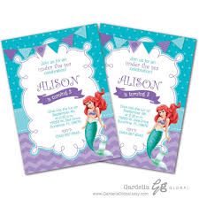 Ariel Birthday Invitations Printable Party Wording Text Nz Online