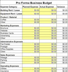 Pro Forma Example Pro Forma Business Budget Template Pro Forma Business Template