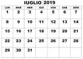 Gratuito Calendario Iuglio 2019 Pdf