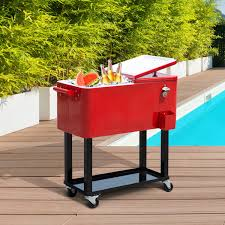 outsunny patio 80quart party portable rolling cooler cart ice beer beverage red
