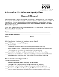18 Printable Volunteer Sign Up Sheet Forms And Templates
