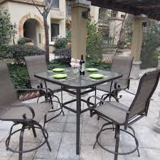 Outdoor Bar Set With Swivel Chairs