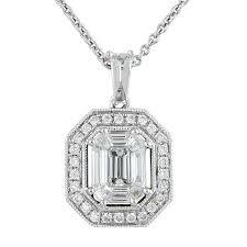 view emerald cut diamond halo illusion pendant