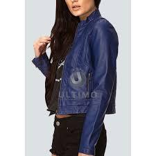 blue women slim fit stylish leather jacket