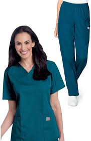 Scrubzone By Landau Womens V Neck Solid Scrub Top Cargo Scrub Pant Set