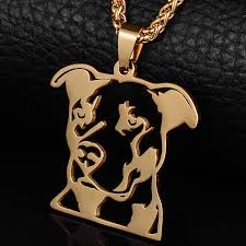gold plated natural ear pitbull pit bull terrier pitties dog pendant necklace