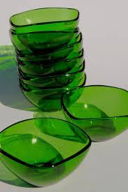 square charm shape forest green glass bowls or dessert dishes vintage vereco duralex france