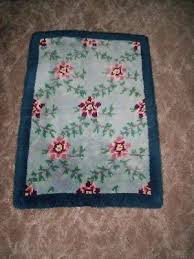 vintage hand hooked wool rug blues roses green vines wall hang or table topper