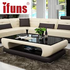 Aliexpresscom  Buy IFUNS Living room furniture modern new design coffee  table glass top wood base coffee table small round glass tea tablefr  from