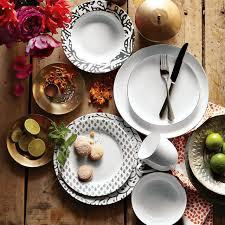 Patterned Dinnerware Beauteous Organic Shaped Dinnerware Set Metallic Rimmed West Elm