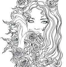 Recolor Coloring Pages For Pretty Girl With Flowers Page App