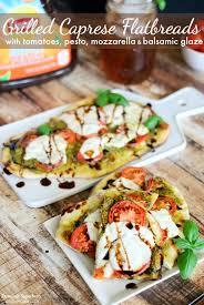 grilled caprese flatbreads with tomatoes pesto mozzarella balsamic glaze