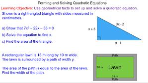 form and solve quadratic equations mr