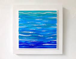 fused glass wall art ocean decor beach