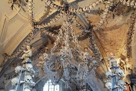 chandelier made of bones and skulls in sedlec ossuary kostnice kutna hora czech republic photo by markovskiy