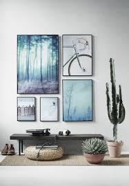 shades of blue gallery art wall