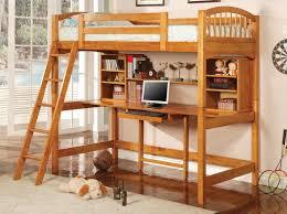wooden loft beds with desks