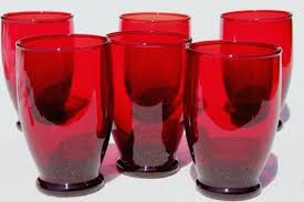 vintage royal ruby red glass tumblers anchor hocking drinking glasses set sweetbrier hockin