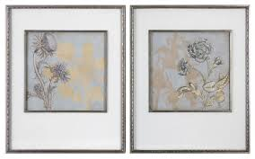 framed flowers wall art print 2 piece set gold silver floral metallic on 2 piece framed wall art with framed flowers wall art print 2 piece set gold silver floral