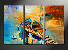 3 piece boat ocean oil paintings multi color large canvas wall art gallery 9 of