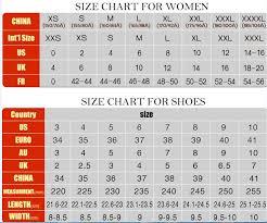 Chinese To American Size Chart 17 Explanatory China Size To Us Size