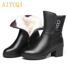 swonco womens genuine leather winter boots comfortable flats warm ladies shoes black ankle for women non slip mother shoe