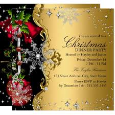 Images Of Christmas Invitations Red Green Gold Snowflake Christmas Dinner Party 3 Invitation