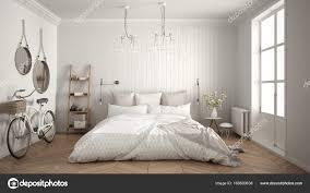 Skandinavische Minimalistische Schlafzimmer Mit Großen Fenster Und