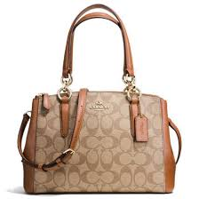 Coach Mini Christie Carryall In Signature Handbag Gold   Khaki   Saddle  Brown Brown   F58290
