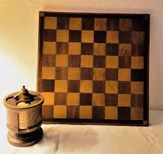 wooden antique chess checkers board folk art inlay game pieces container