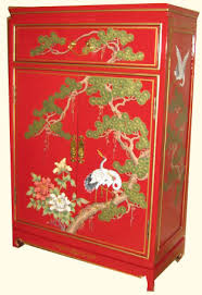 Oriental Cabinet Hand Painted Red Lacquer For Storage 36 High