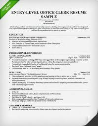 Office Clerk Resume Samples Entry Level Office Clerk Resume Sample
