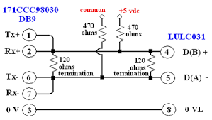 rs485 wiring diagram db9 wiring diagrams rs485 wiring diagram from an m1e port 2 db9 to lulc031 modbus