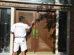 Refinishing Exterior Solid Wood Door And Painting With Brown Color ...