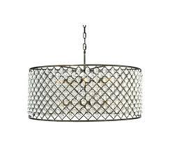 crystal drum light emilia flush ceiling chandelier extra large antique brass