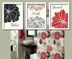 Red And Black Bathroom Accessories Black Red Bathroom Wall Art