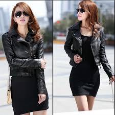 bac short style new vintage women slim biker motorcycle pu soft leather zipper jacket coat hot